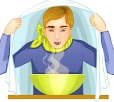 Inhalationen als Hausmittel helfen, da sie den Schleim lösen.