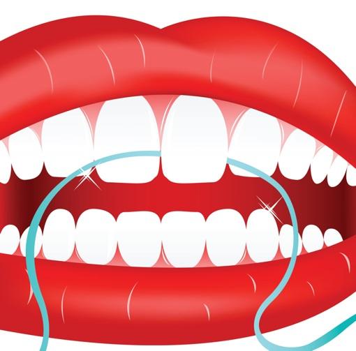 Zahnseide reinigt die Zahnzwischenräume
